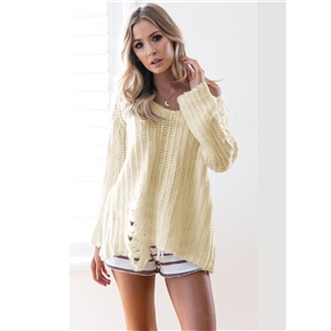Round Neck Long Sleeve Solid Color Hollow out Sweater