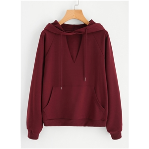 V Neck Long Sleeve Solid Color Pullover
