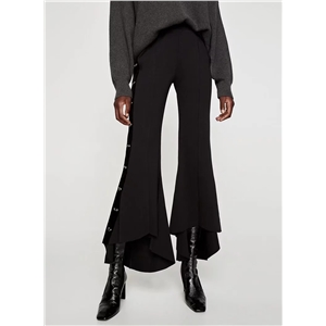 Asymmetric Solid color Boot Cut Pants