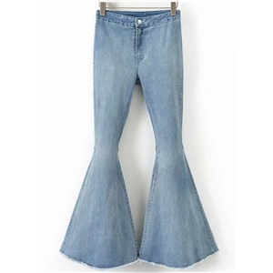 Fashion Solid Denim Bell-bottoms Pants