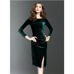 Round Neck Solid Color Long Sleeve Bodycon Dress