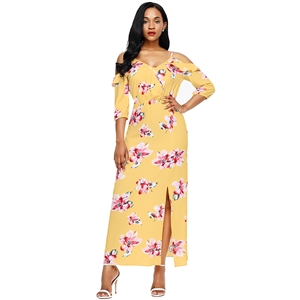 Spaghetti Strap Off Shoulder Floral Printed Maxi Dress