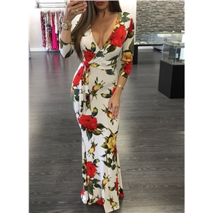 V Neck Long Sleeve Floral Printed Maxi Dress