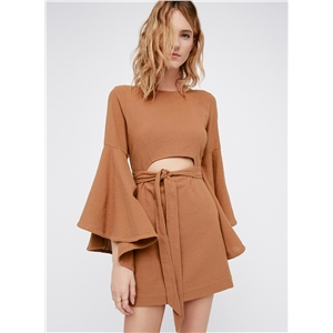 Round Neck Solid Color Flounce Sleeve Mini Dress