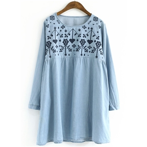 Round Neck Long Sleeve Embroidery Denim Dress