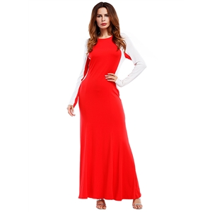 Round Neck Long Sleeve Color Block Maxi Dress