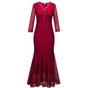 V Neck 3/4 Sleeve Button Down Lace Prom Dress