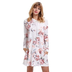 Hooded Long Sleeve Floral Printed Pullover Dress