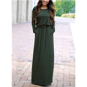 Round Neck Long Sleeve Maxi Dress with Belt