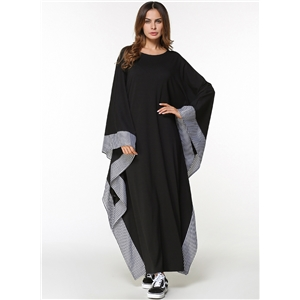 Round Neck Batwing Sleeve Solid Maxi Dress