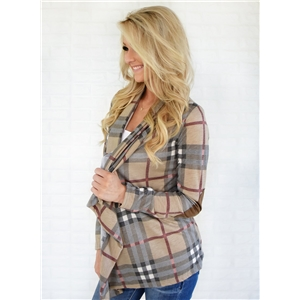 Shawl Collar Long Sleeve Open front Plaid Cardigan