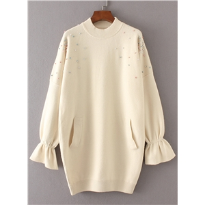 Round Neck Flare Sleeve Pearls Decration Sweater