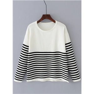 Round Neck Long Sleeve Striped Splicing Sweater