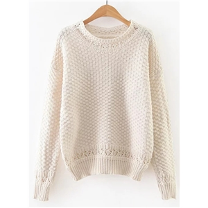 Round Neck Long Sleeve Solid Color Pullover Sweater