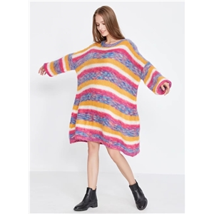 Loose Round Neck Long Sleeve Striped Sweater