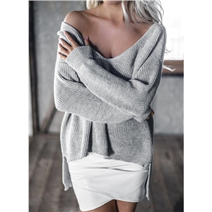V Neck Long Sleeve Solid Color Knit Sweater