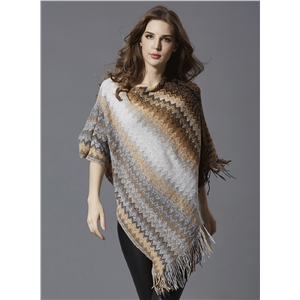 Round Neck Batwing Sleeve Striped Pullover Cape Sweater