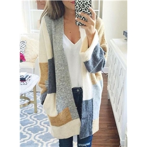 Color Block Long Sleeve Open Front Knit Gardigan