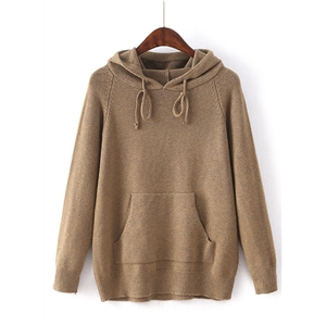 Solid Color Long Sleeve Knit Pullover Hoodie Sweater