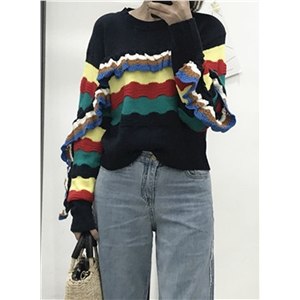 Round Neck Long Sleeve Color Splicing Sweater