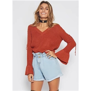 V Neck Long Sleeve Off The Shoulder Lace Up Sweater