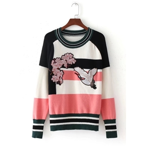 Round Neck Long Sleeve Embroidery Color Splicing Sweater