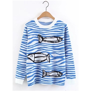 Round Neck Long Sleeve Fish Printed Sweater