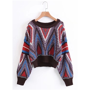 Round Neck Lantern Sleeve Color Splicing Sweater