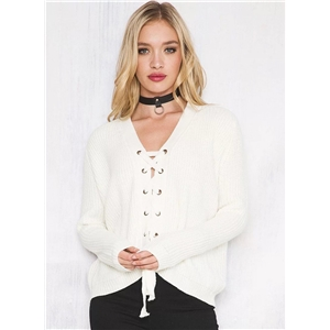 Solid Color V Neck Lace up Long Sleeve Knit Sweater
