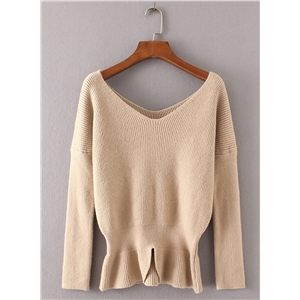 Deep V Neck Long Sleeve Solid Color Sweater