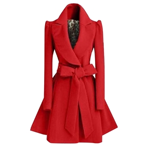 Fashion Winter Swing Trench Coat with Belt