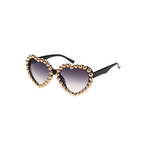 Diamante Heart-shaped Frame Black Sunglasses