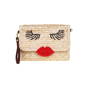 Sexy Red Lips Straw Bag