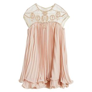 Beads Embellished Pleated Layered Apricot Dolly Dress