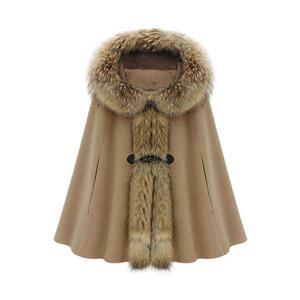 Hooded Cape-style Light-tan Coat