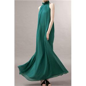 Bridal party dress Off-shoulder Lace-up Deep Green Pleated Maxi Dress