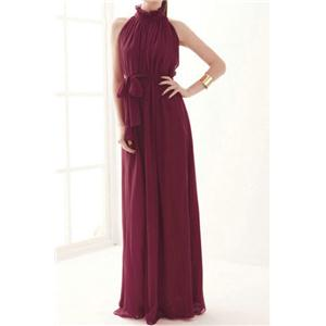 Bridal party dress Off-shoulder Lace-up Burgundy Pleated Maxi Dress