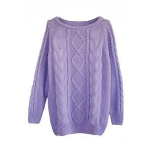 Rhombus Cable Knit Purple Jumper