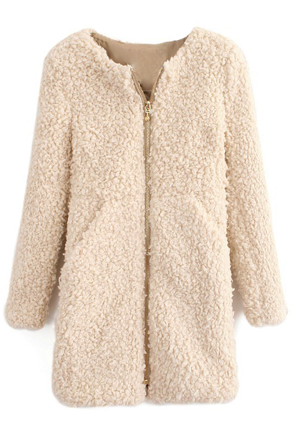Warmful Golden Zipper Beige Fluffy Coat