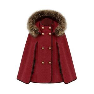 Double Breasted Red Cape Coat