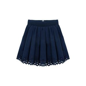 Elastic Pleated Blue Skirt