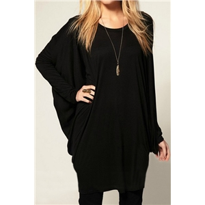 Batwing Long Sleeves Black T-shirt