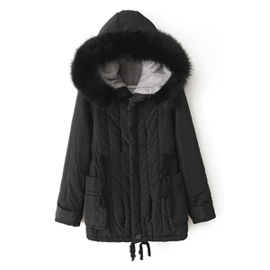 Drawstring Faux Fur Hooded Black Down Coat