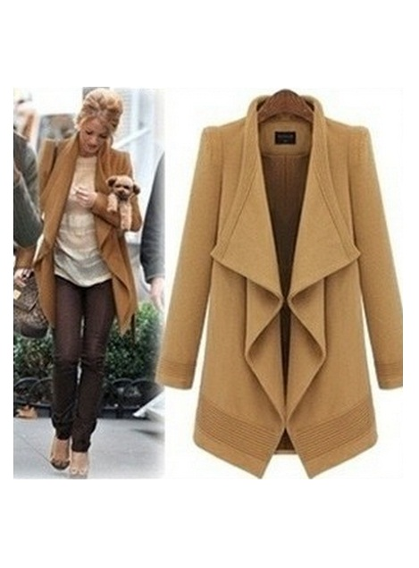 ... /Irregular Long Sleeve Lapel Lacing Camel Coat. Buyer Show & Perfect  Suggestions