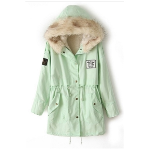 Drawstring Hooded Long Sleeves Light Green Coat