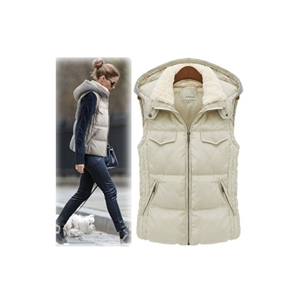 Cardigan Fur Lapel Beige Thick Vest