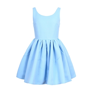 Pleated Sleeveless Puff Sky-blue skater Dress