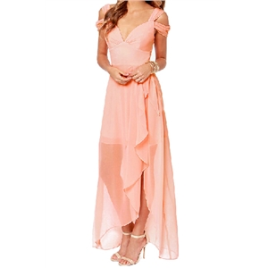 Asymmetric Off-shoulder Split Side Pink Crepe Dress