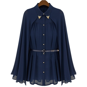 Blue Cape Lapel Loose Chiffon Blouse