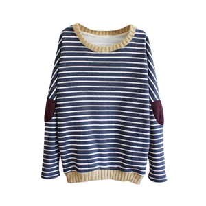 Stripes Knitted Patched Jumper